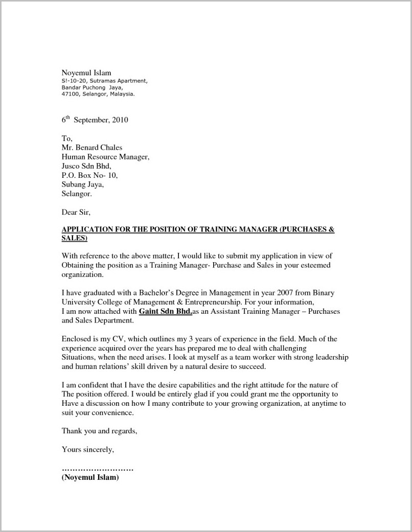 Cover Letter For Resume Sample Malaysia