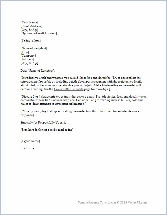 Cover Letter For Resume Sample Word