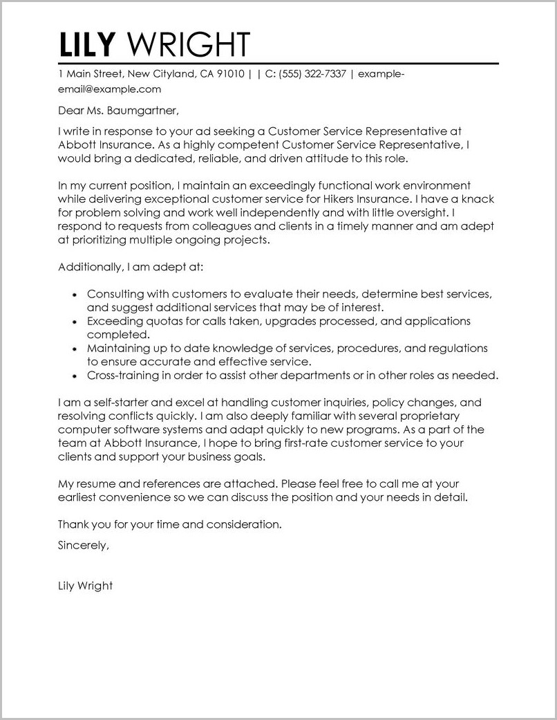 Cover Letter For Resume Samples For Customer Service