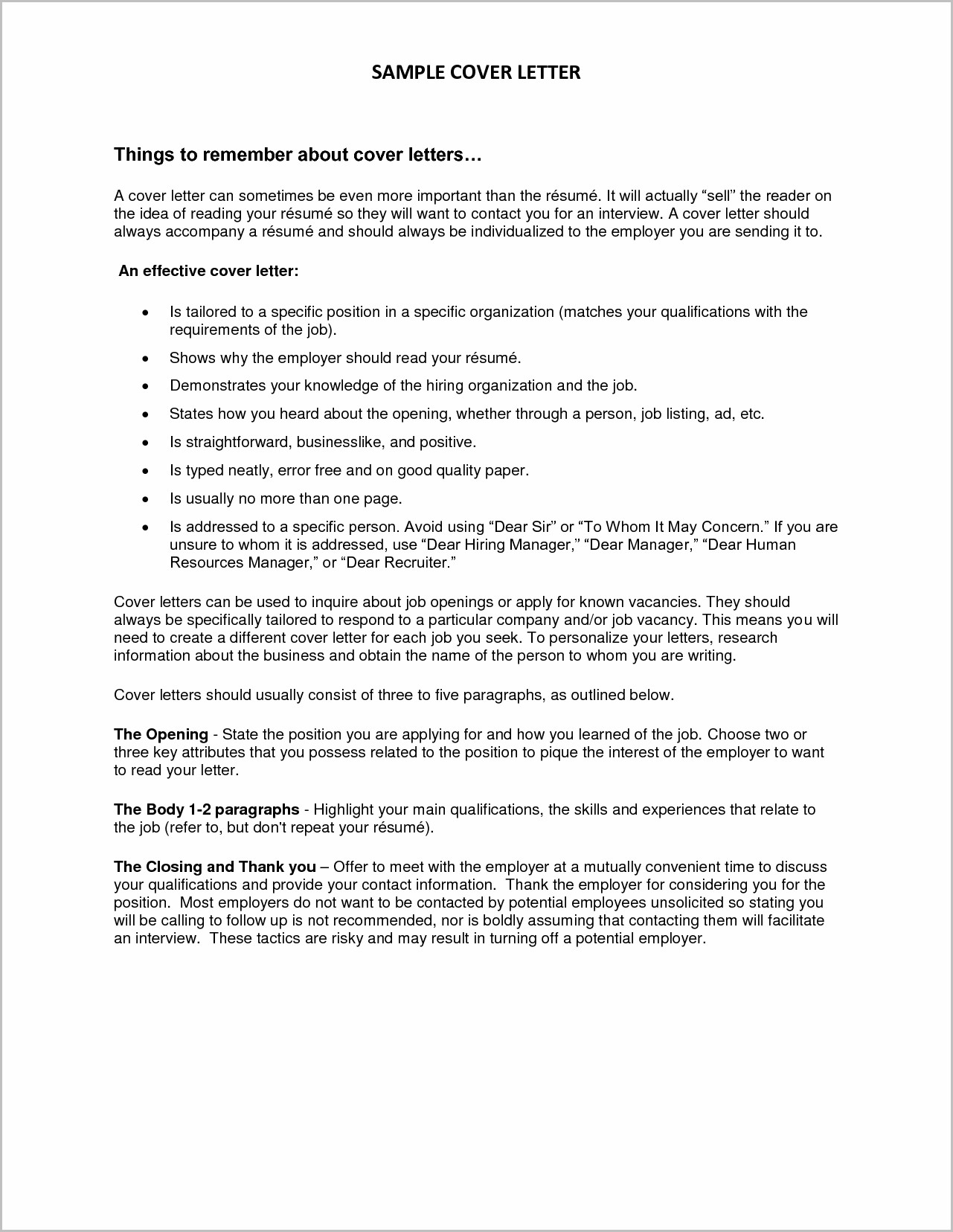 Cover Letter For Resume Unknown Recipient
