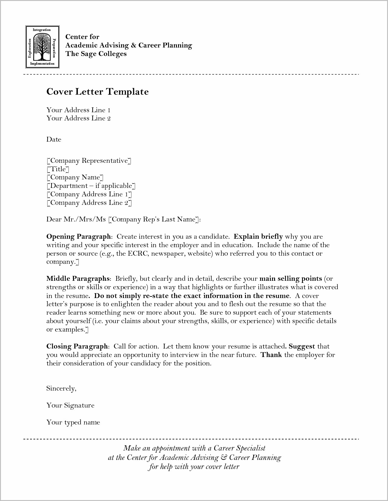 Cover Letter For University Job Examples