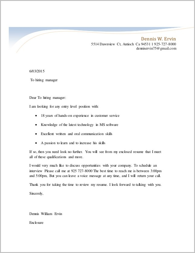 Cover Letter For Unsolicited Resume