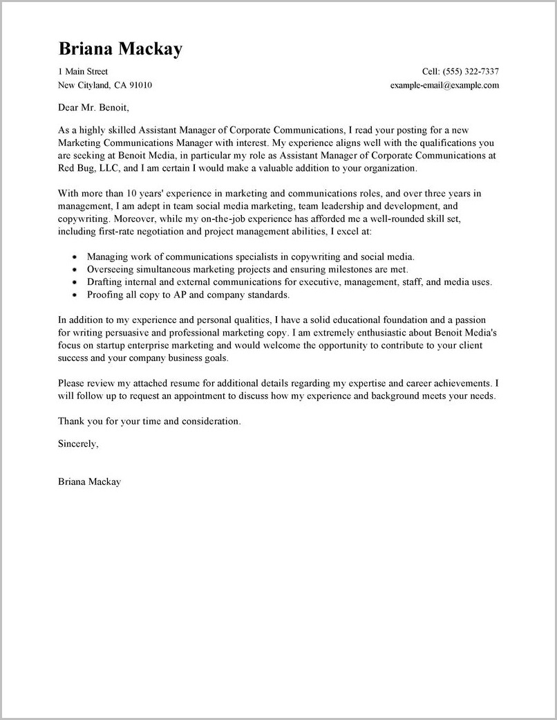 Cover Letter Sales Manager Free Sample