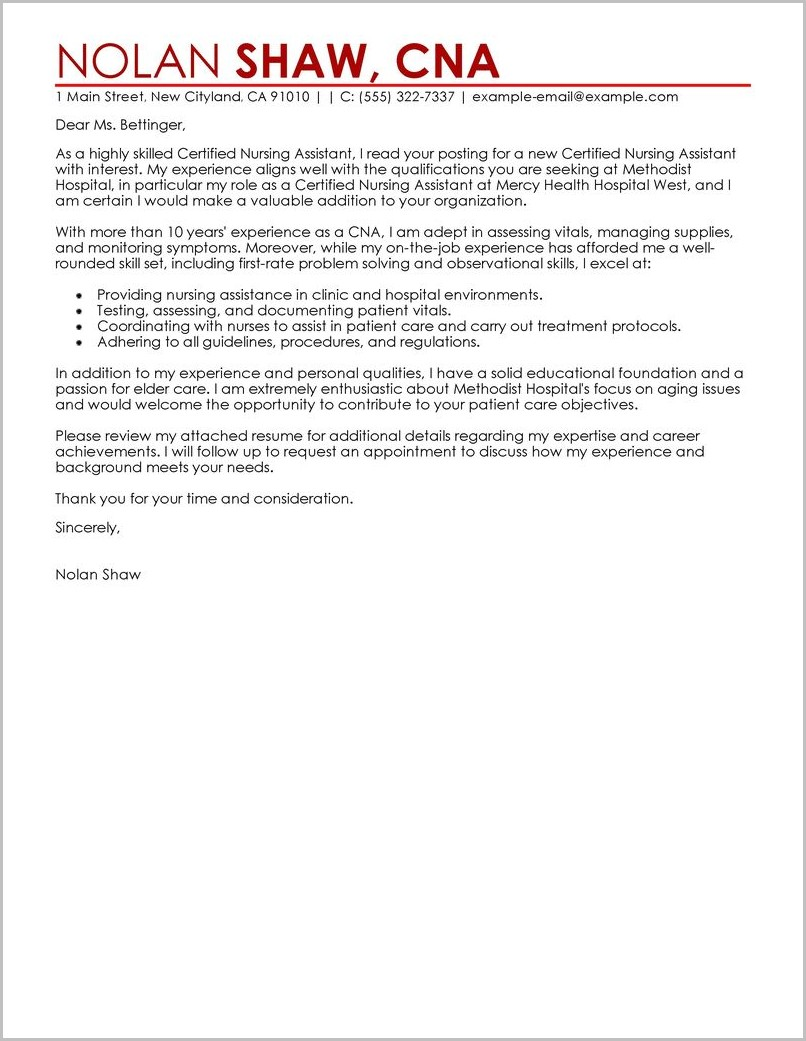 Cover Letter Template For Assistant In Nursing