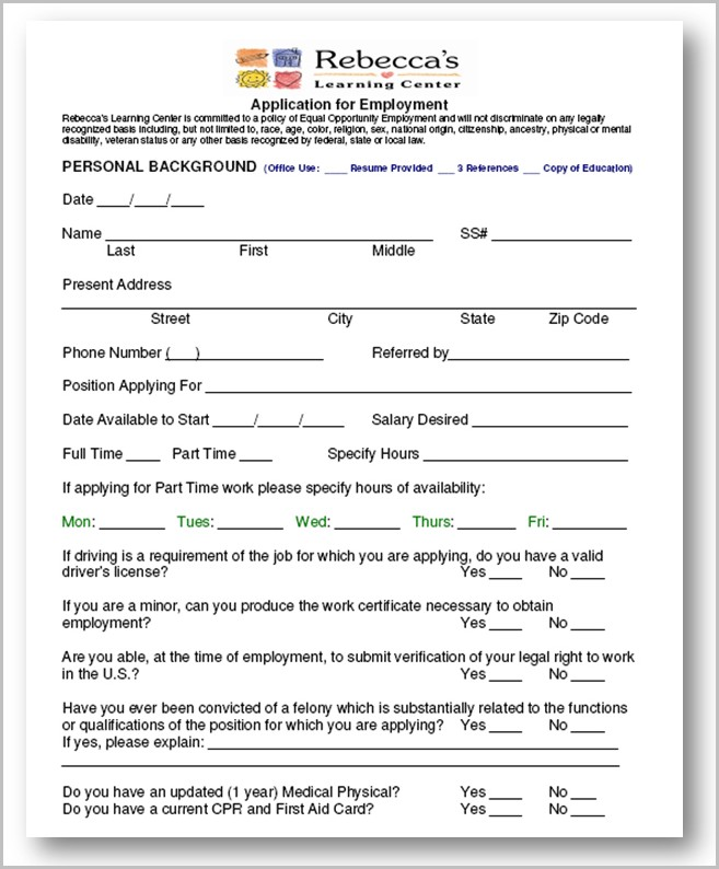 Daycare Job Application Sample