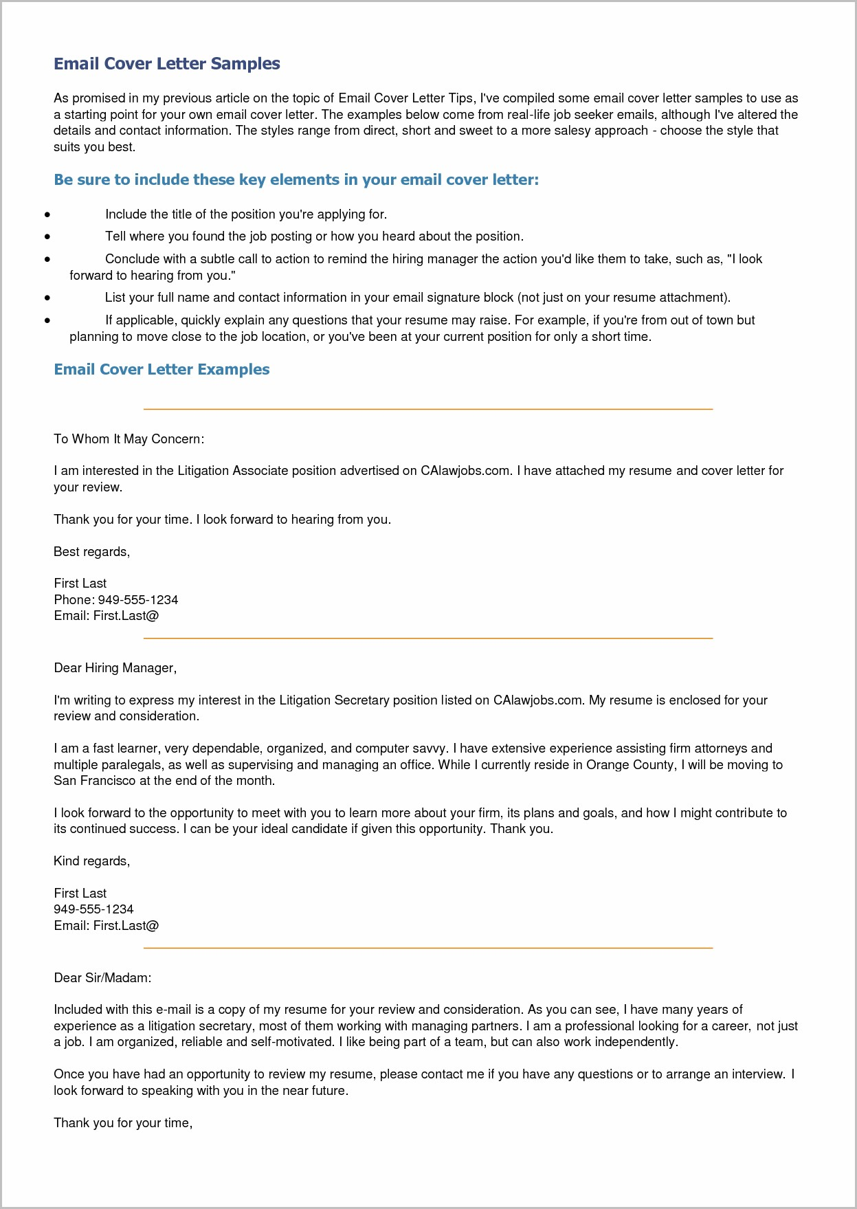 Email Cover Letter Sample Resume Attached