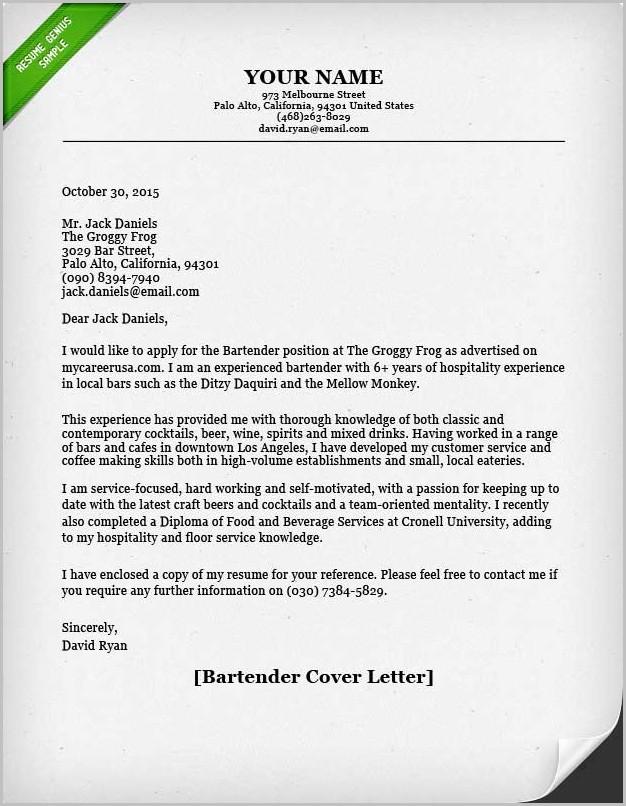 Example Cover Letter For Resume Bartender