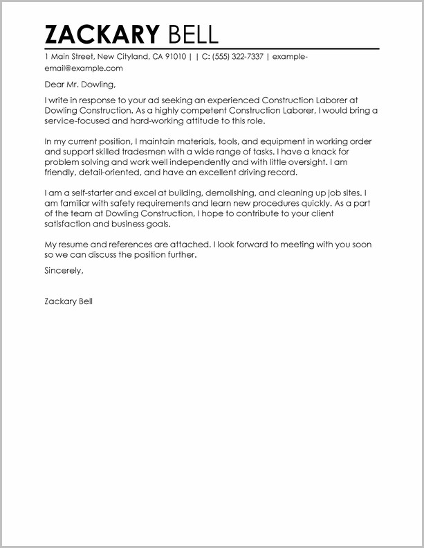 Example Cover Letter For Resume Construction