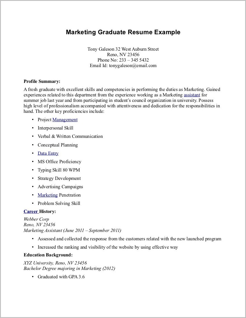 Example Cover Letter For Resume Fresh Graduate