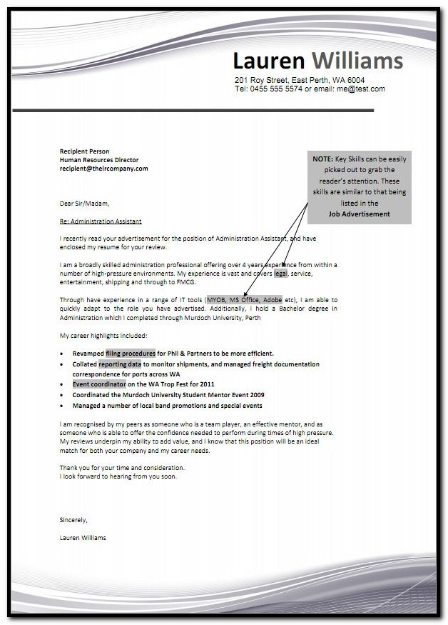 Examples Of Cover Letters For Resumes Australia