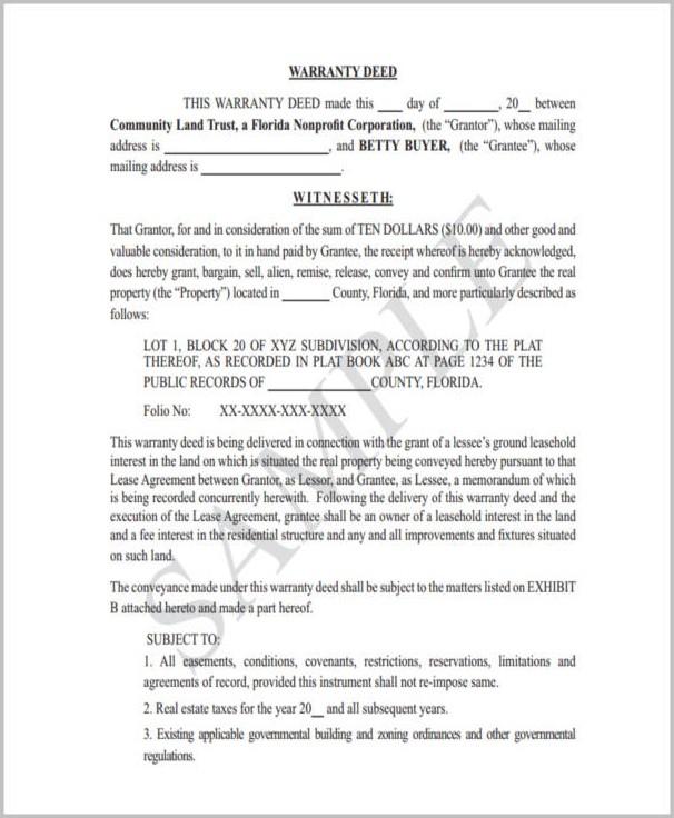 Florida Warranty Deed Form Word