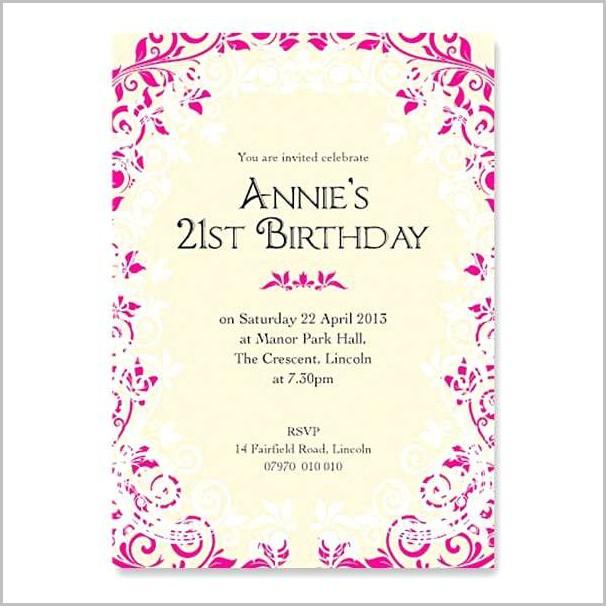 Free Online 21st Birthday Invitation Templates