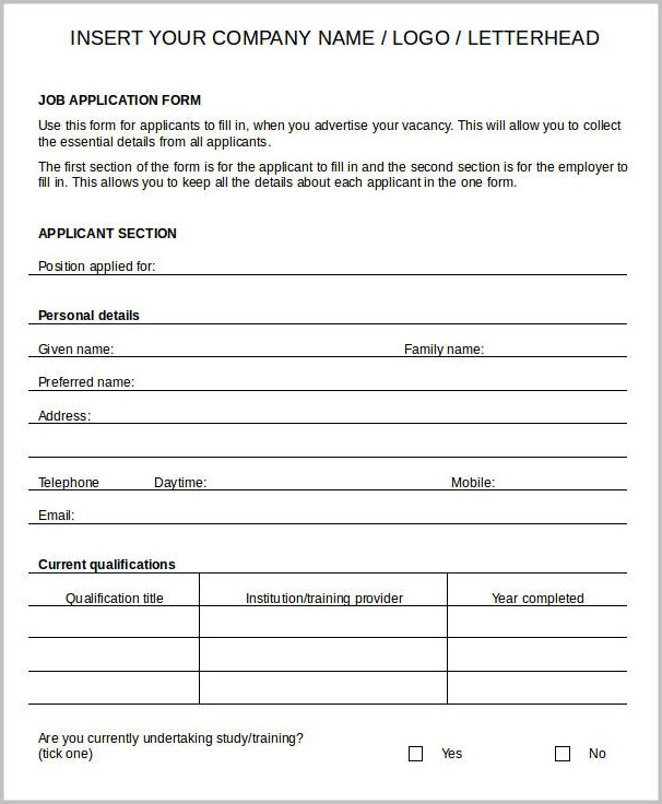 Free Printable Blank Job Application Forms
