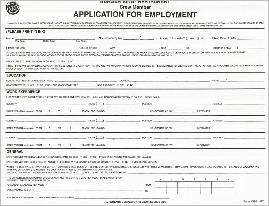 Free Printable Job Application For Walmart