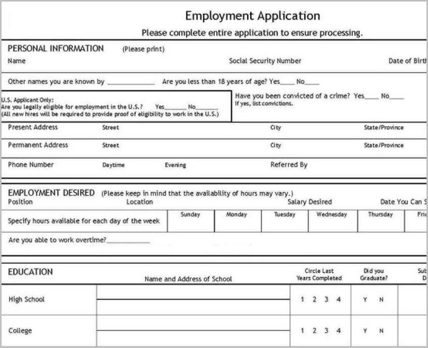 Free Printable Job Application Pdf