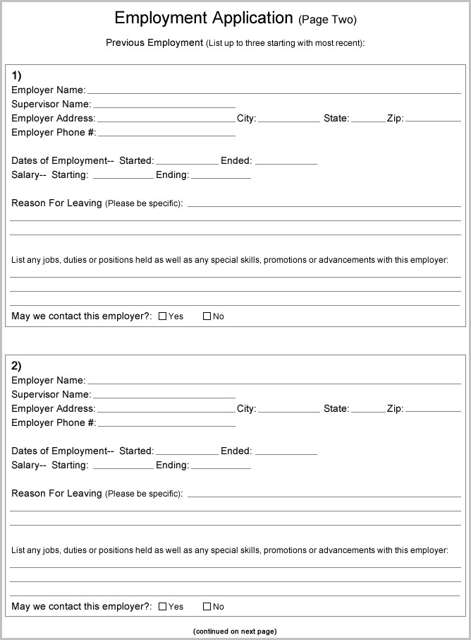 Free Printable Job Applications For Employers