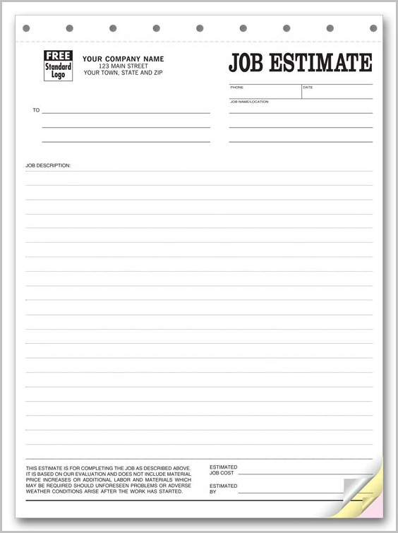 Free Printable Job Estimate Form
