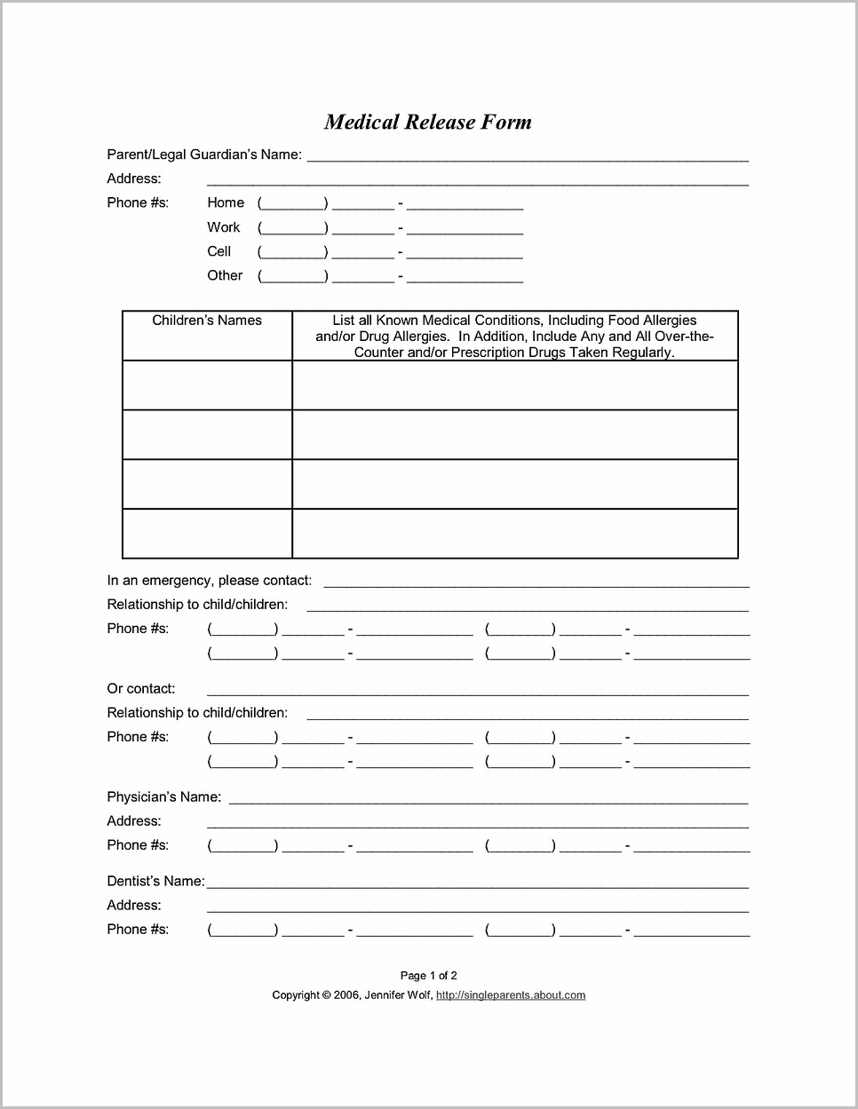 Free Printable Medical Consent Form For Child