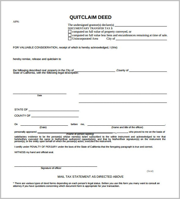 Free Quit Claim Deed Form For Georgia