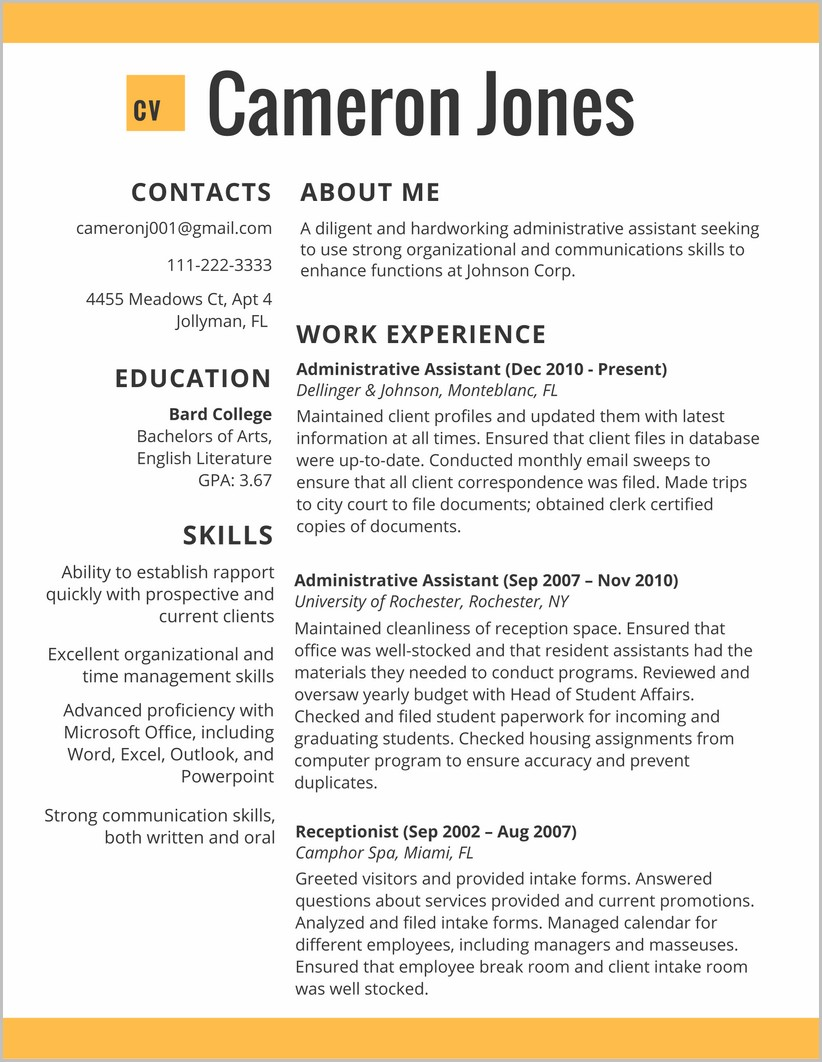Free Resume Template 2017