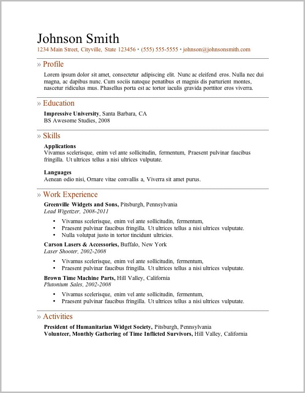 Free Resume Template No Sign Up