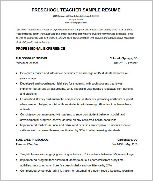 Free Resume Template Teacher