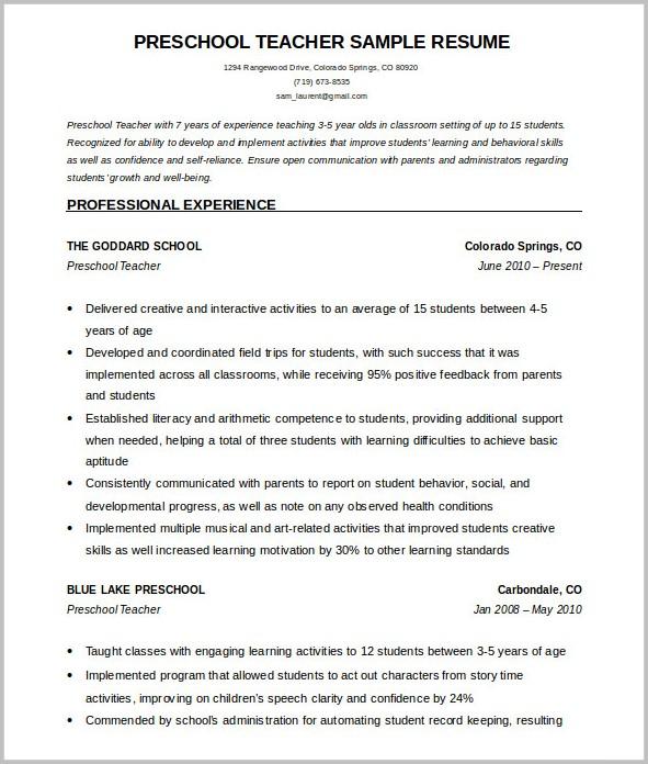 Free Resume Template Teacher
