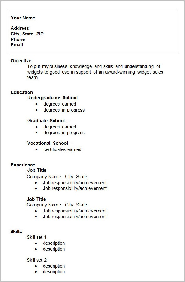 Free Resume Template Zip