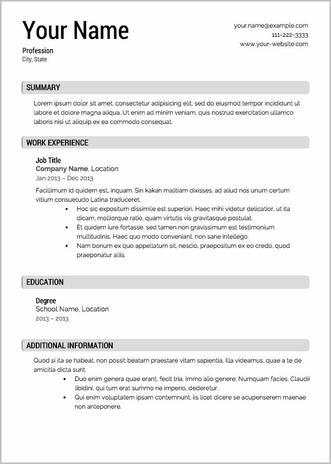 Free Resume Templates To Use