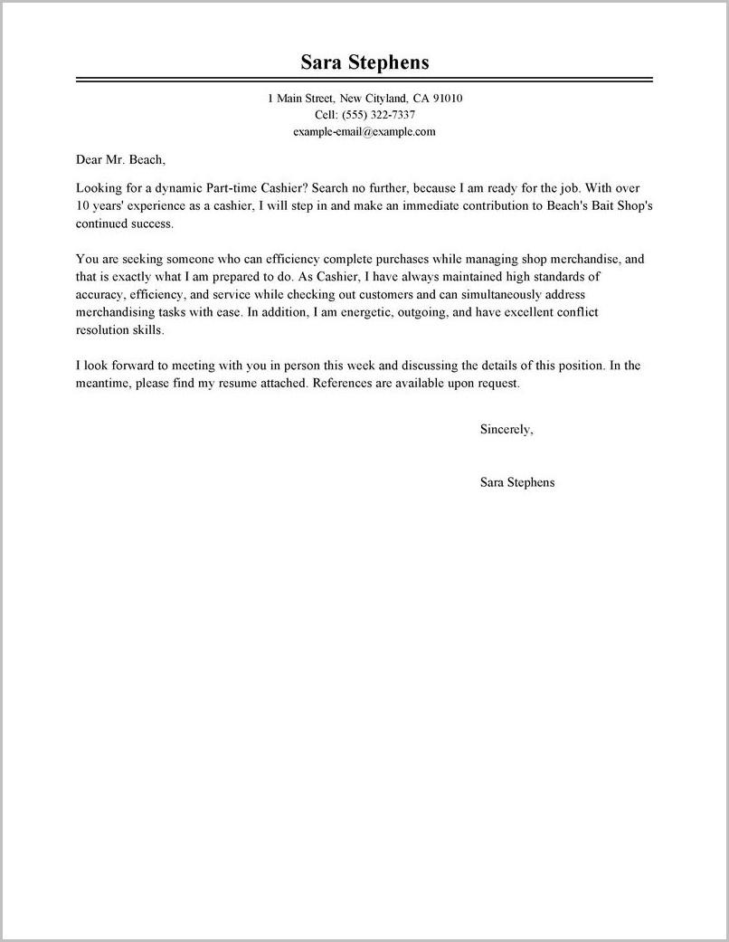 Free Sample Cover Letter For Cashier
