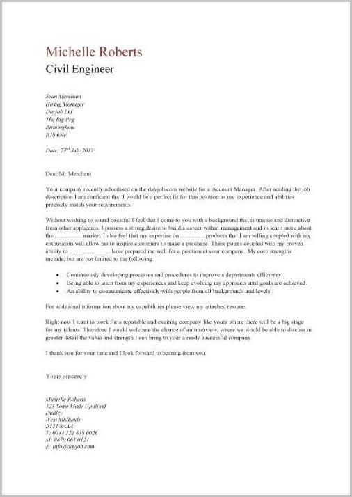 Free Sample Cover Letter For Civil Engineer
