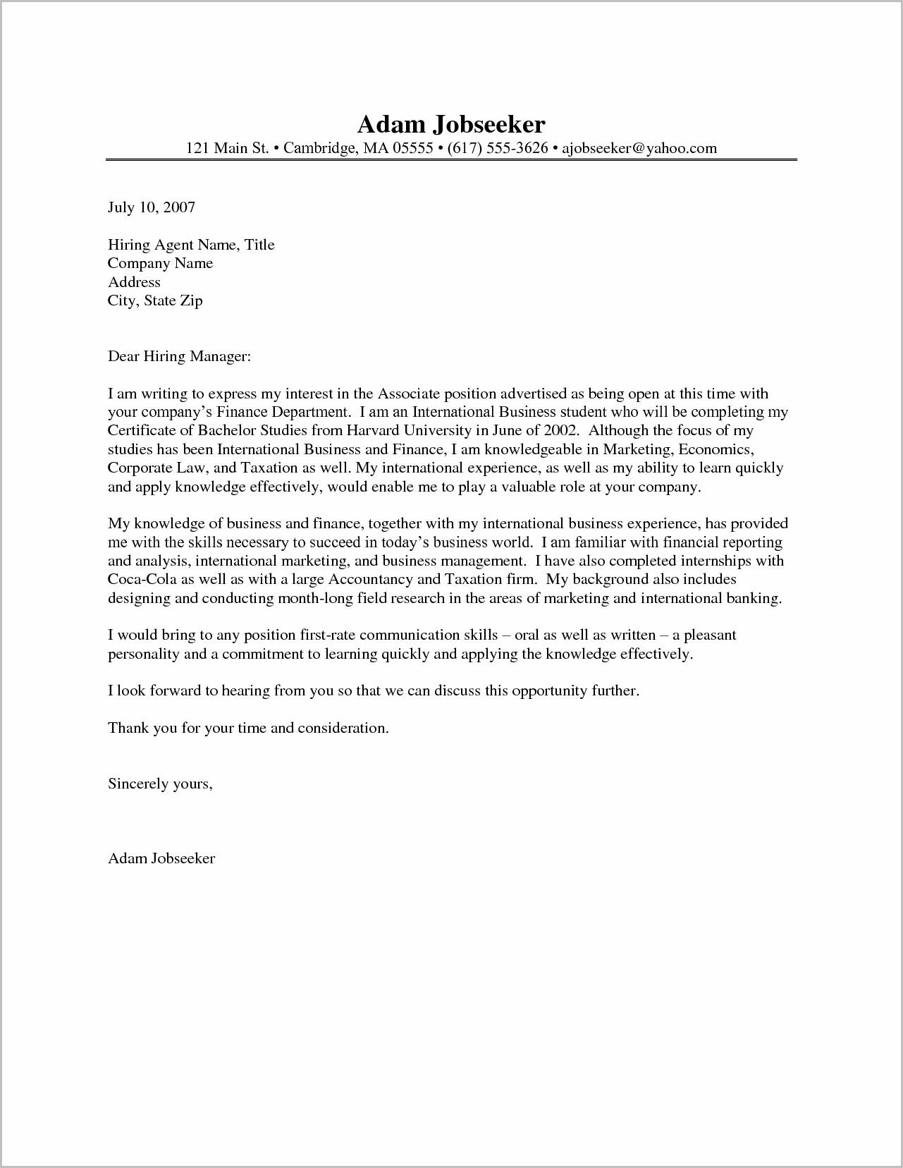 Free Sample Cover Letter For Internship
