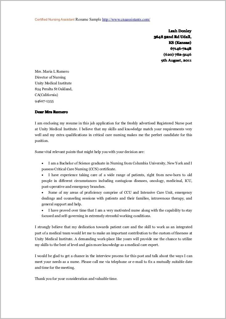 Free Sample Cover Letter For Nursing Assistant