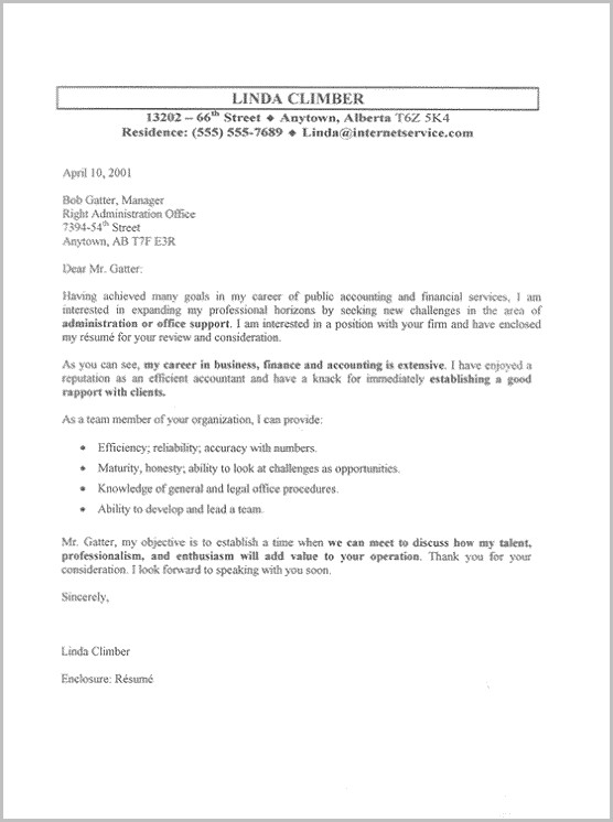 Free Sample Cover Letter For Office Administrator