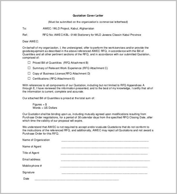 Free Sample Cover Letter For Quotation