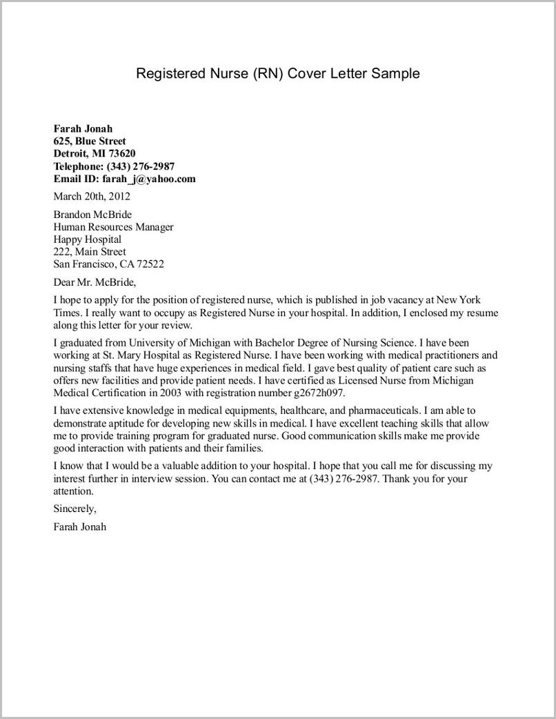 Free Sample Cover Letter For Registered Nurse
