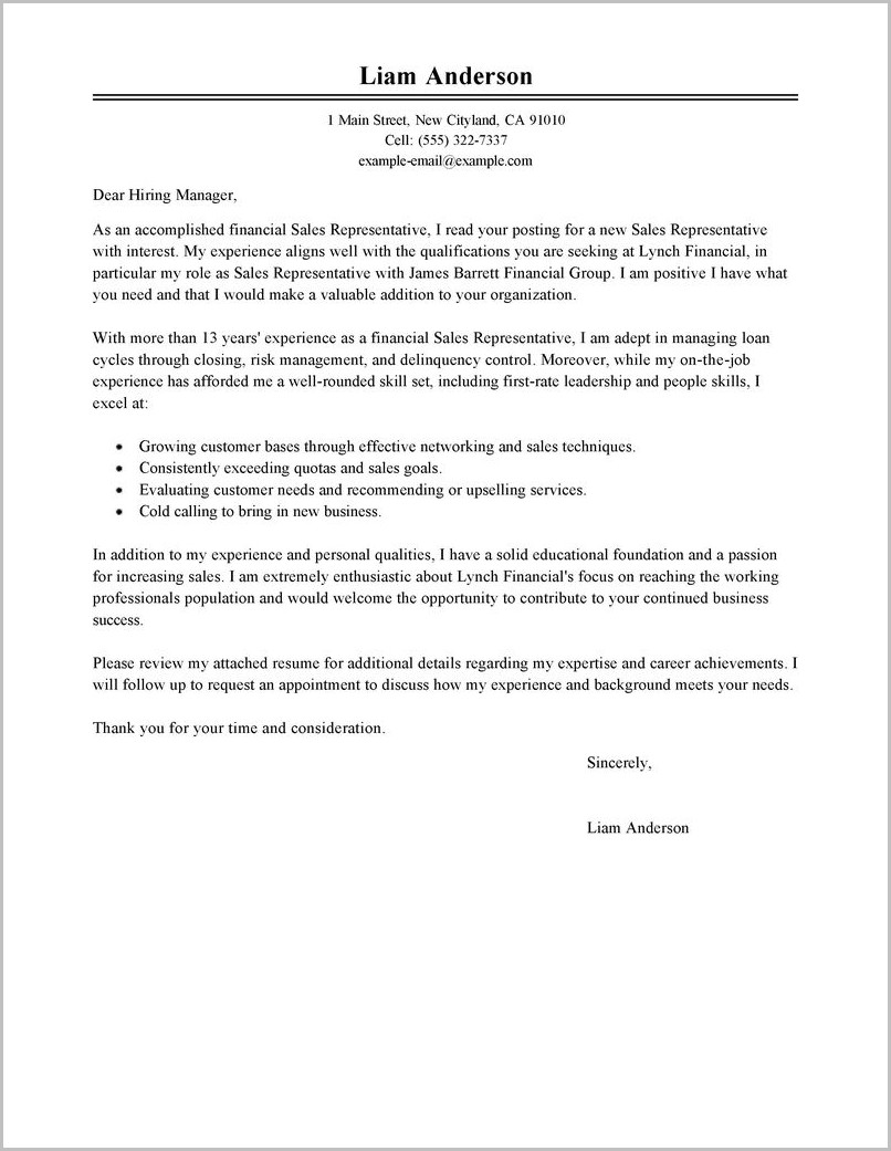 Free Sample Cover Letter For Sales Representative