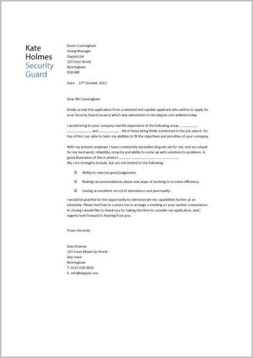 Free Sample Cover Letter For Security Guard Job