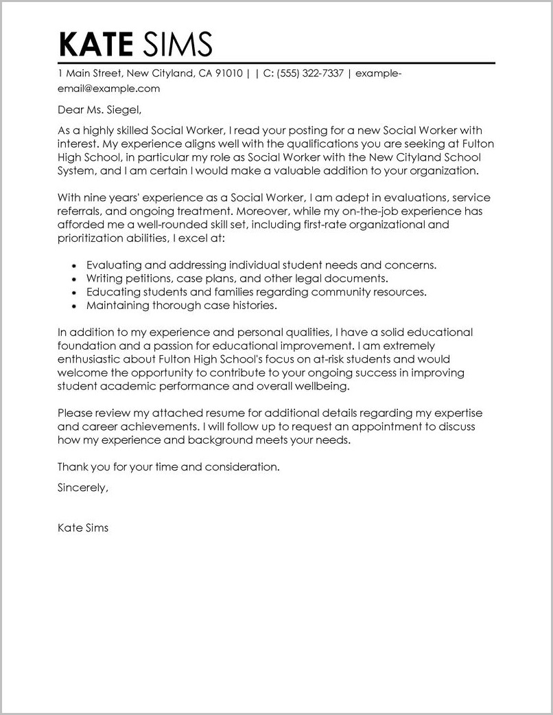 Free Sample Cover Letter For Social Worker