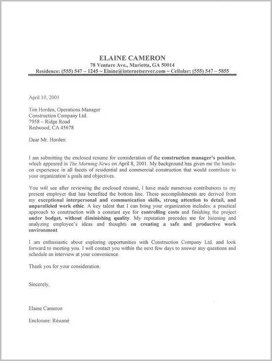 Free Sample Cover Letters For Resumes Examples