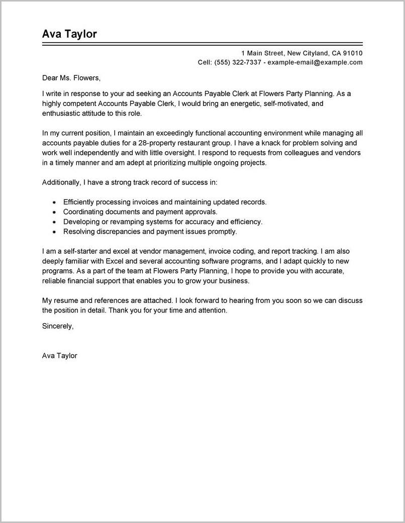 Free Sample Invoice Cover Letter