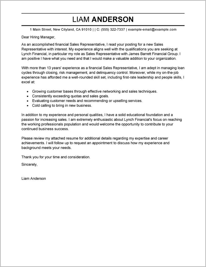 Free Sample Of Cover Letter For Employment