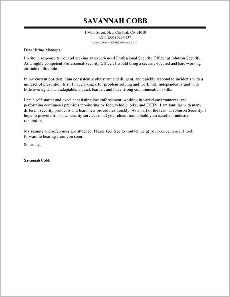 Free Security Guard Cover Letter Sample