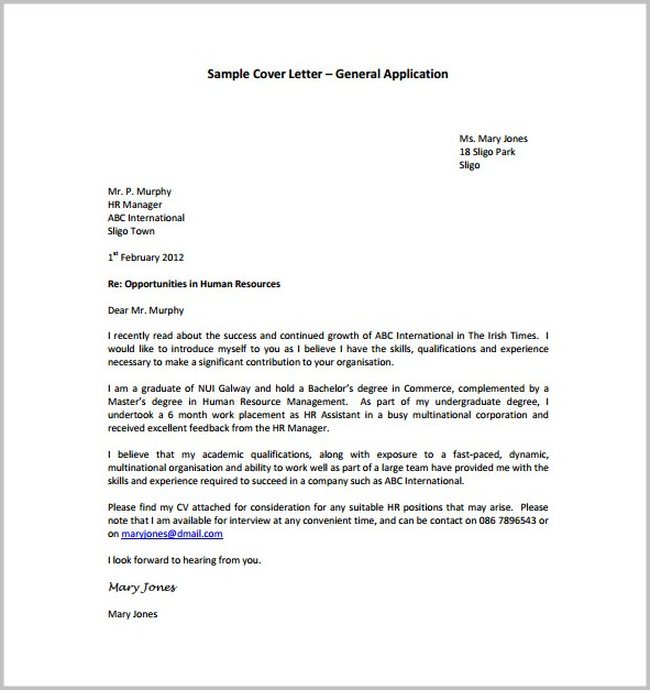 General Cover Letter Sample Free