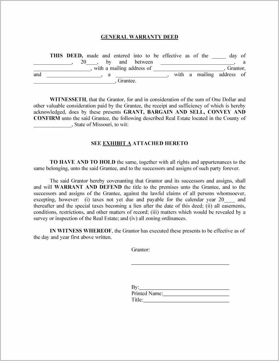 General Warranty Deed Template Ohio