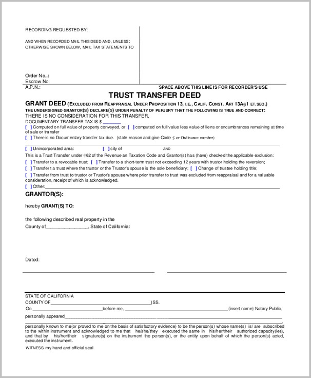 Grant Deed Form California Free