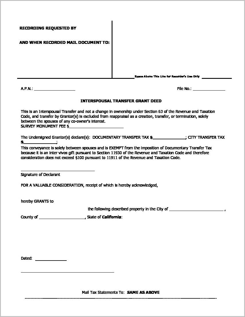 Grant Deed Form Los Angeles California
