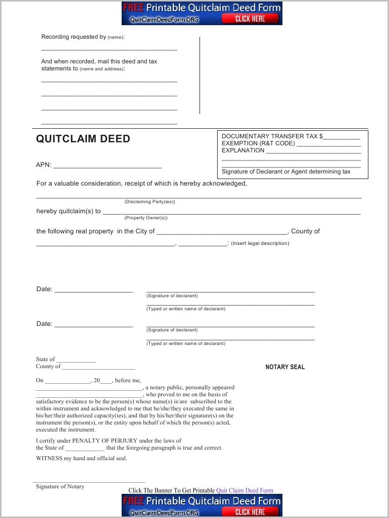 Grant Deed Form Sample