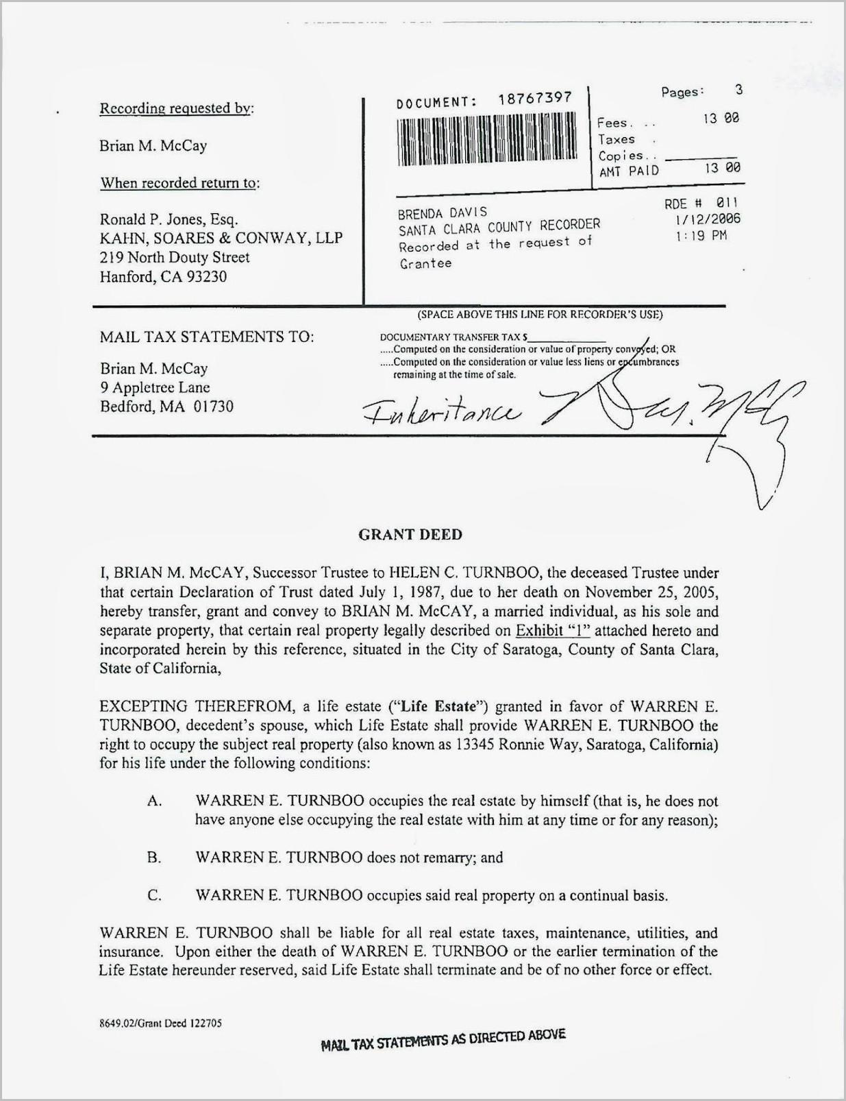 Grant Deed Transfer Form California