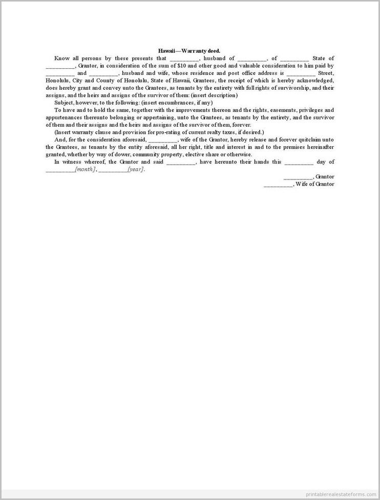 Hawaii Warranty Deed Form
